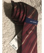 John Ashford Silk Tie Dark Red Striped Stain Resistant NEW - $12.99