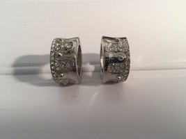 Silver RHINESTONE HUGGIE MAGNETIC EARRINGS Silvertone 20345 - $13.99