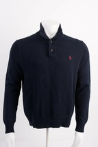 Polo Ralph Lauren Mens Sweater M Navy Blue Pullover 1/4 Button Collared ... - $34.65