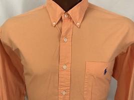 Ralph Lauren Men's Shirt BLAKE Peach Long Sleeve Button Embroidery Blue ... - $21.75