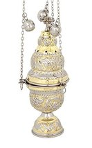 Two Colored Brass Christian Church Thurible Incense Burner Censer (9391 GN) - $83.73