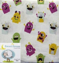 LITTLE MONSTER DREAMS MULTI-COLOR 3PC TWIN SHEETS BEDDING SET NEW - $31.85