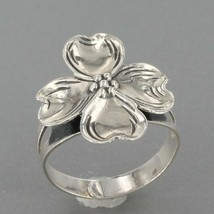 Vintage Signed BEAU Sterling Silver Dogwood Flower Ring Size Adjustable - $11.99