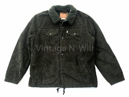 Levis Jean Premium Mens L Dark Army Green Corduroy Sherpa Coach Trucker ... - $103.55