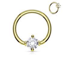 "Captive Lip Ear Daith Ring 16 Gauge 3/8"" Gold Plate w/Clear 3mm Prong Gem Body - $6.99"