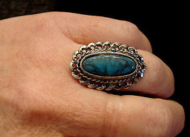 Faux Turquoise Statement Ring Adjustable Antiqued Silver Tone Southweste... - $19.75