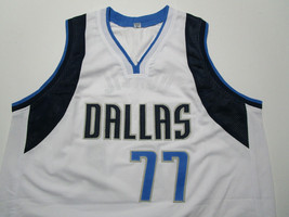 LUKA DONCIC / AUTOGRAPHED DALLAS MAVERICKS WHITE CUSTOM BASKETBALL JERSEY / COA image 2