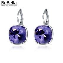 BeBella square bella crystal pierced drop earrings with Crystals from Sw... - $24.78
