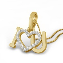 14k Yellow Gold Plated 925 Silver Round Cut White CZ Women's Pendant With Chain - $45.99