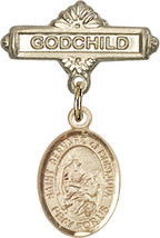 14K Gold Baby Badge with St. Bernard of Montjoux Charm Pin 1 X 5/8 inch - $468.56