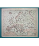 1875 MAP COLOR - EUROPE Physical + Western Russia - $6.71