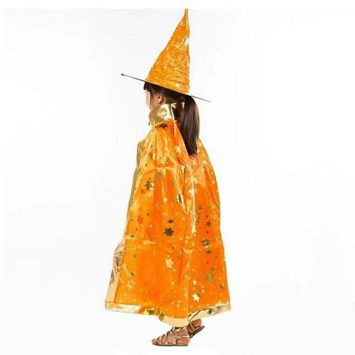 Halloween Costumes Witch Wizard Cloak Gown Robe with Hat Cap Stars Fancy DressUp