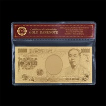 WR Gold Japan 10000 Yen Banknote Nippon Ginko Note Lucky Item Collectibl... - $4.59
