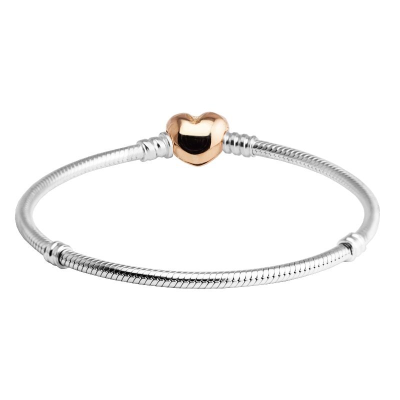 Primary image for Rose Gold Heart Clasp Sterling Silver Bracelet Fit Charms & Beads DIY original 9