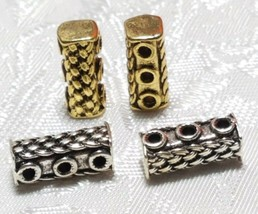 3pcs. Three Hole Weave Pattern Fine Pewter Tube Connector Beads - 6x13x6mm