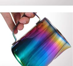 Milk Pitcher Frothing Cup Stainless Steel Coffee Jug Rainbow Espresso Latte Tea image 9