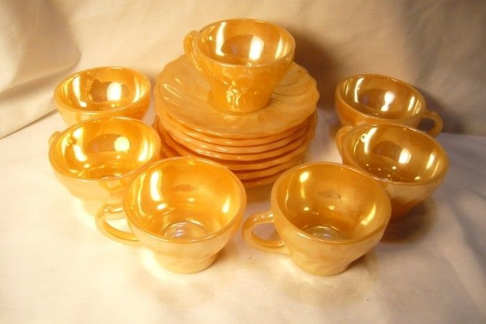 Vintage Fireking Orange Lustre 7 Demi Cups and Saucers