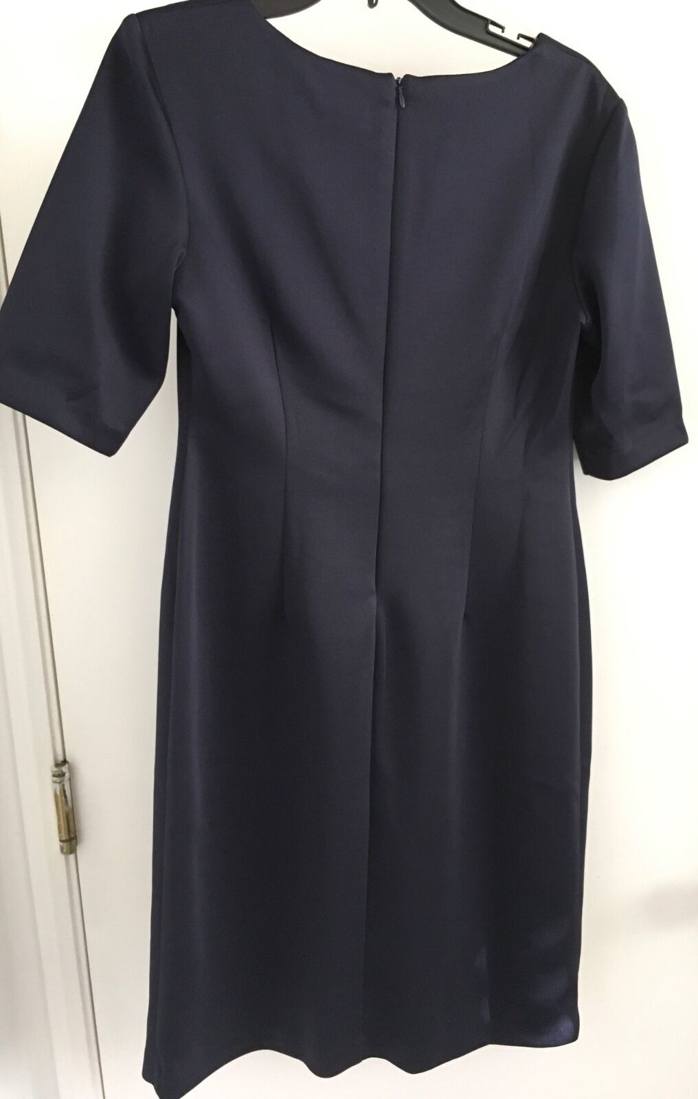 Connected Laser cut Panel Sheath midnight blue with beig insert Dress Size 8 NWT image 3