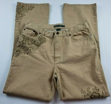 Ralph Lauren Jeans Co Womens Sz 10 Boot Cut High Waist Tan Denim Floral ... - $23.13