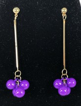 Vintage MOD Groovy Earrings 60s 70s Purple Gold Beads - $14.84