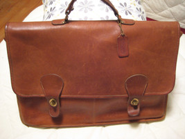 AUTH COACH Tote Briefcase Book Bag Lap Top LRG Brown Leather  USA NYC 76... - $98.00