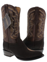 mens brown real stingray skin single diamond stone leather western cowboy boots - $251.99