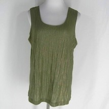 cff9a83c9745be New CHICO'S Lustrous Crinkle Tank Top 2 L Fatigue Sleeveless Stretch  Shell