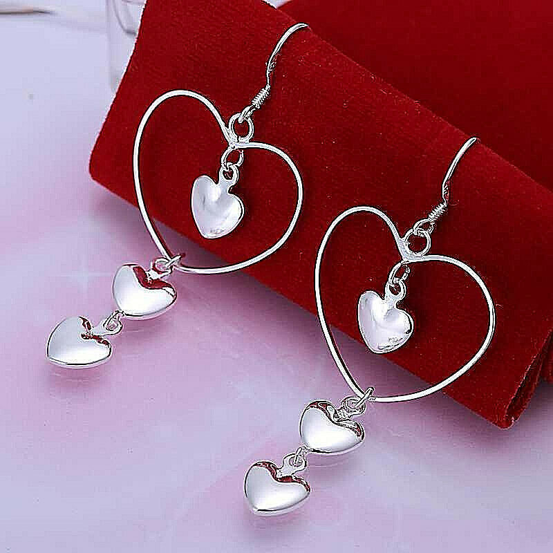 Primary image for Four Heart Dangle Earrings 925 Sterling Silver NEW
