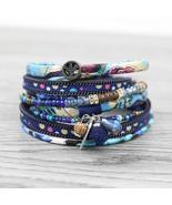 Strathspey Multilayer Leather Bracelets for Women Bohemian Crystal Beads... - $13.99