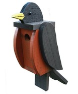 AMERICAN ROBIN BIRDHOUSE - Large Solid Wood Bird House Amish Handmade in... - $79.17