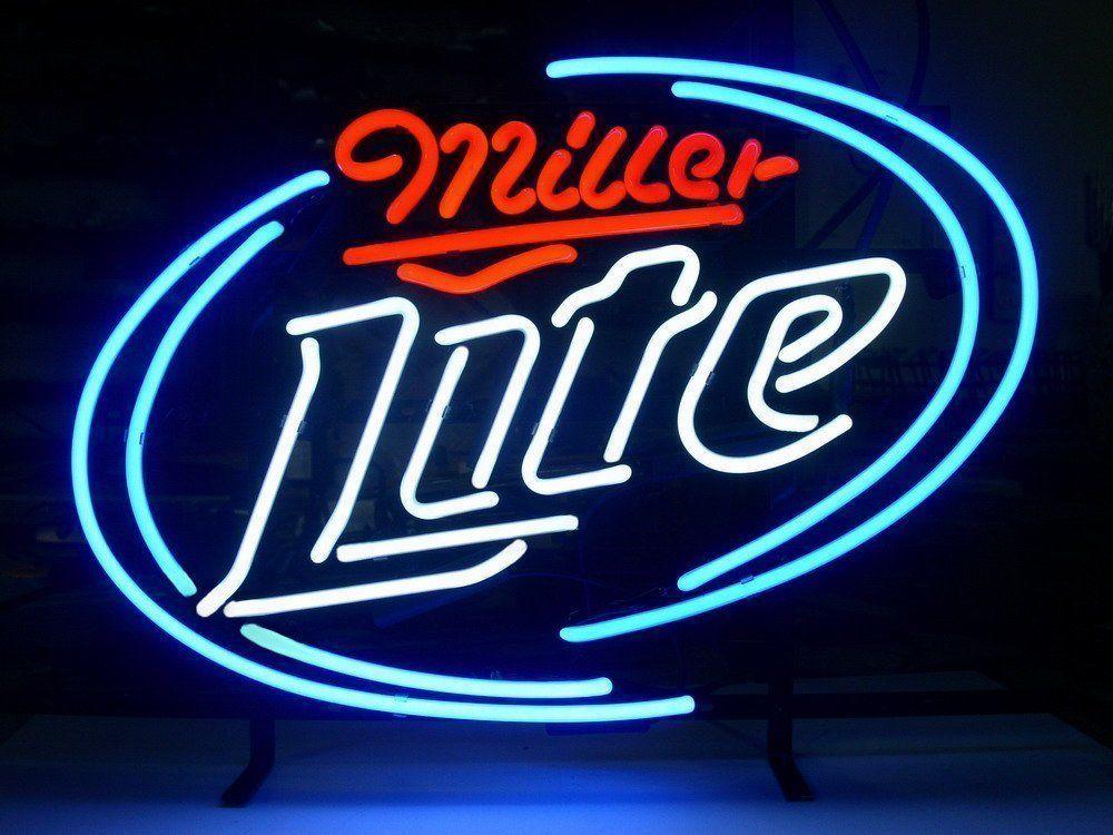 "New Miller Lite Beer Lager Bar Man Cave Neon Sign 24""x20"""