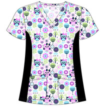 DSF Uniforms V-Neck Stretch Side Panel Print Scrub Top - $14.99