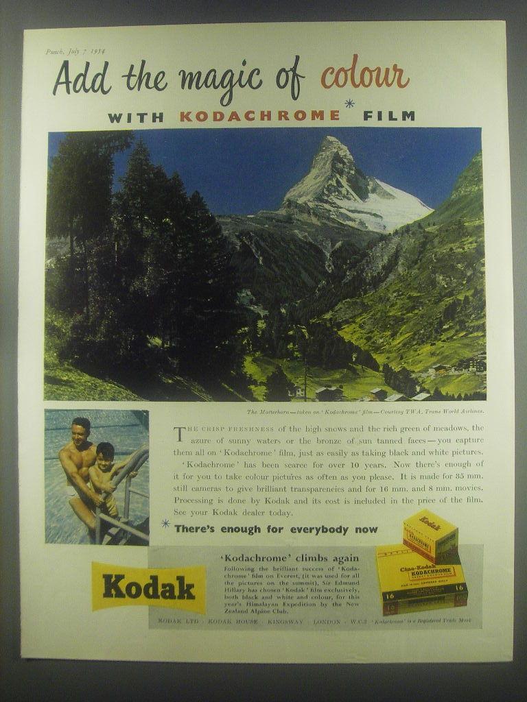 1954 Kodak Kodachrome film Ad - Add the magic of colour with Kodachrome film - $14.99