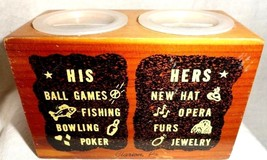 Bank wooden his and hers  souvenir of Clarion Clarion PA stoppers intact - $10.88
