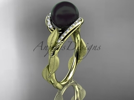 Black pearl engagement rings 14kt yellow gold diamond leaf wedding ring ABP64 - $1,250.00