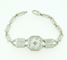 14k Gold Filigree Genuine Natural Rock Crystal Quartz Bracelet w/ Diamon... - $725.00