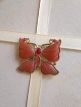 Vintage Gold Tone Pink Enamel Crystal Rhinestone Butterfly Fashion Brooch - $25.00
