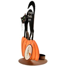 Black Cat Pumpkin Creepy Treats Here Halloween Tabletop Tealight Candle Holder image 2