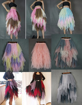 Tiered Elastic High Waist Tulle Skirt Women's Hi-lo Layered Holiday Formal Skirt image 7