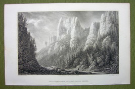 GERMANY Rathewalde Harz Ferdinandstein Rocks - 1820s Copper Engraving Cp... - $7.65