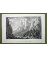 GERMANY Rathewalde Harz Ferdinandstein Rocks - 1820s Copper Engraving Cp... - $7.65