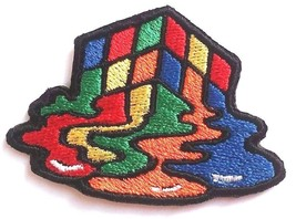 Melting Rubik Cube Patches Embroidered Iron On Bag Jeans Jacket Badge Ap... - $2.88+