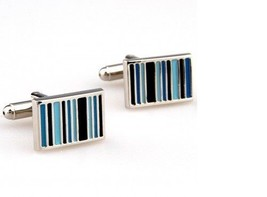 Frederick Thomas blue and turquoise striped rectangular cufflinks FT2855