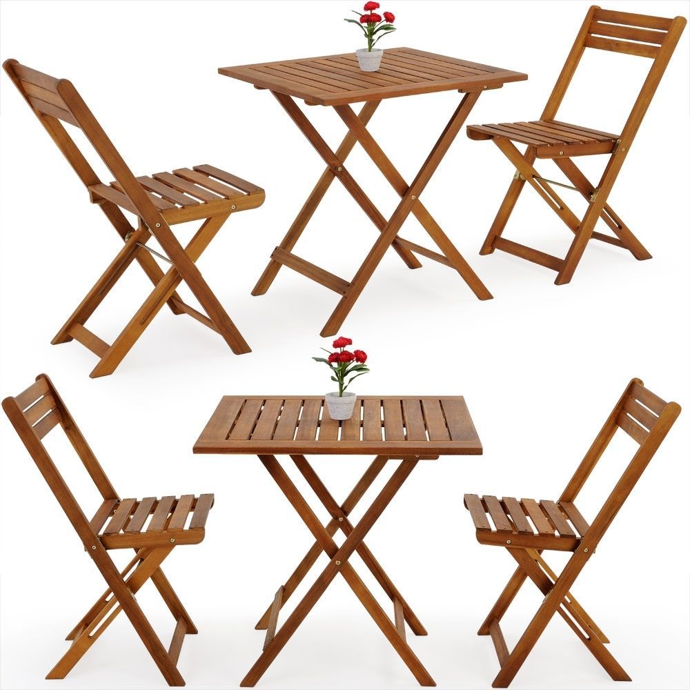 Wooden Garden Foldable Set 3pcs Patio Balcony Furniture Table & 2 Chairs Natural image 6