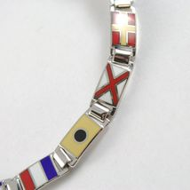 Bracelet Silver 925, Flags Nautical Glazed Tiles, Long 18 cm, Thickness 6 MM image 5