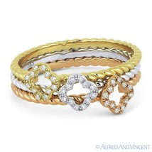 0.14ct Round Cut Diamond Stackable Flower Rings in 14k White Yellow & Ro... - $475.99