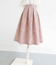 Pink Winter Tweed Skirt A-line High Waisted Pink Midi Tweed Skirt image 8