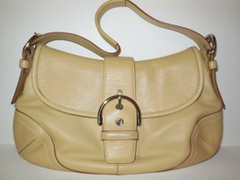 Coach Soho Hobo Bag Leather Light Tan # 9248 Buckle Flap Handbag Purse - $32.00
