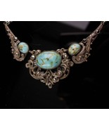 Antique persian turquoise necklace - vintage victorian filigree - marcas... - $185.00