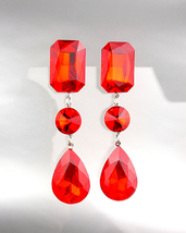 GLITZY Crimson Red Czech Crystals LONG Bridal Pageant Prom Queen CLIP Earrings - £22.79 GBP